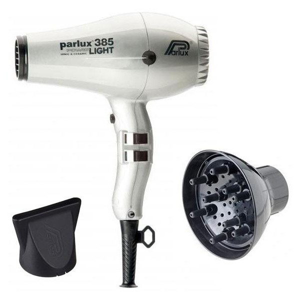 Parlux 385I Hair Dryer Pack Silver + Diffuser