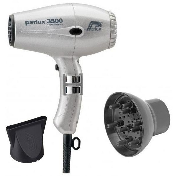 Pack Secador Parlux 3500 Compact Silver + difusor