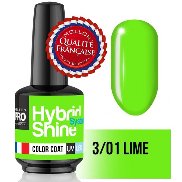 Mini Vernis Semi-Permanent Hybrid Shine Mollon Pro 8ML n°301 - Lime