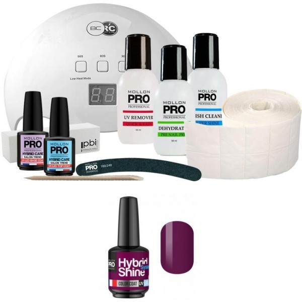 Pack Mollon + Lampada 48 watt Mini Vernice semi-permanente ibrida Shine Mollon Pro 8ml Fuchsia 2/07