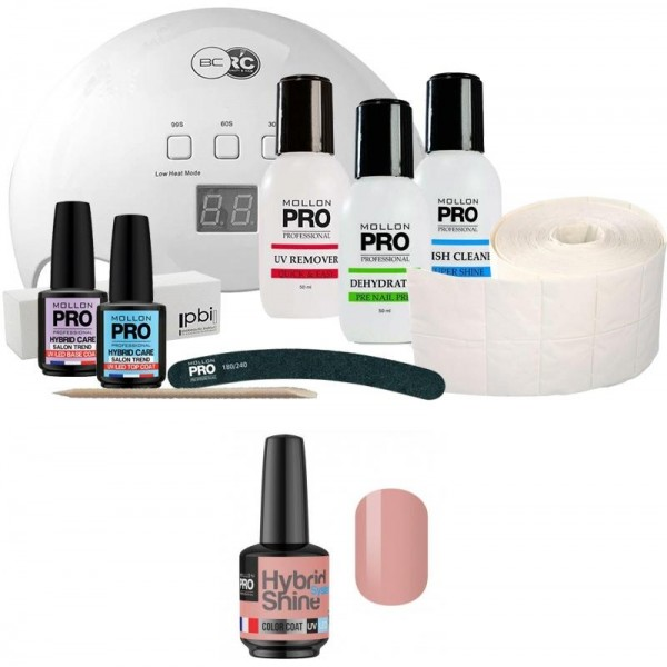 Pack Mollon + Lampe 48 Watt Mini Semi-Permanent Lack Hybrid Shine Mollon Pro 8ml Orchidee 2/11