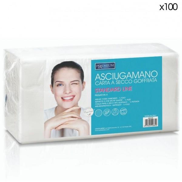 100 serviettes de coiffure jetables papier sec 40x70cm
