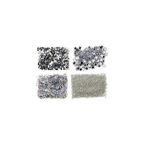 Mini Kit Paillettes pour Ongles argent 149311