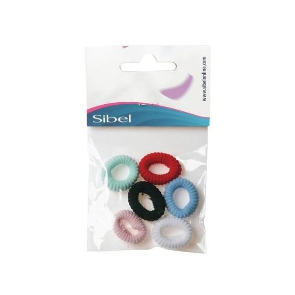 Sachet 6 mini élastiques fantaisie colorés mousse