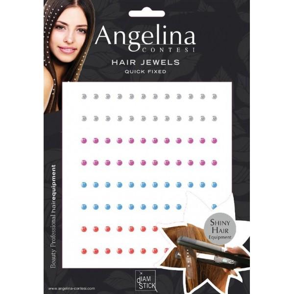 Strass adesivo per capelli x 96 - multicolore