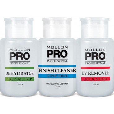 Mollon Pro Kit 3 Flacons Dehydrator, Finish Cleaner, UV Remover