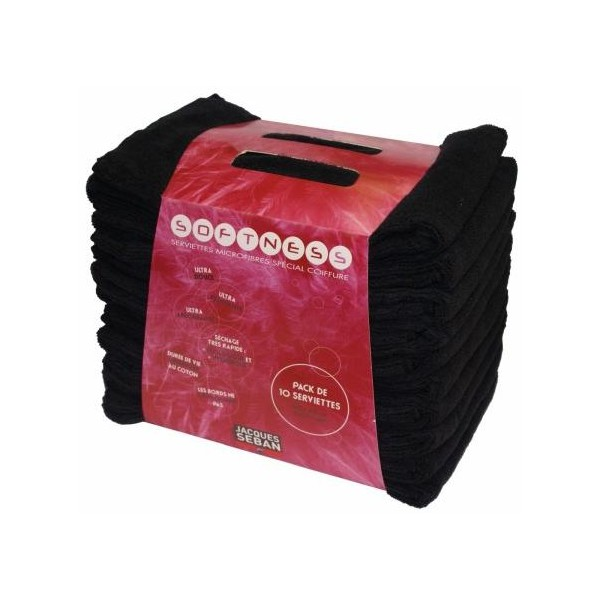 Serviettes micro-fibres noires JACQUES SEBAN x10