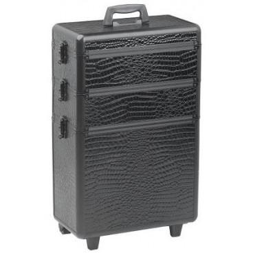 Valigia con 3 livelli di sistemazione - finitura croco nero