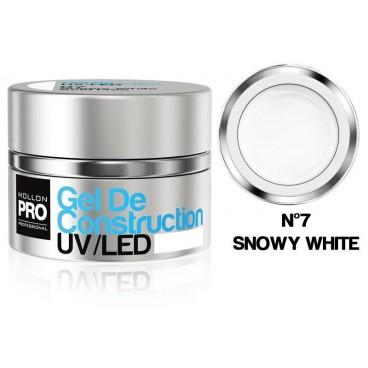 Construcción de gel UV / LED Mollon Pro 15 ml Snowy White -07