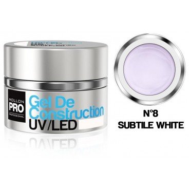 Construcción de gel UV / LED Mollon Pro 15 ml Subtle White - 08
