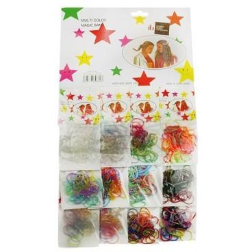 Carte de 12 sachets de 50 pièces élastiques couleur
