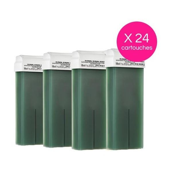 Pack 24 Cartridges Green Disposable Wax Chlorophylle Xanitalia