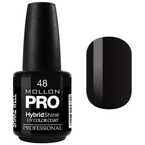 Vernis Semi-Permanent Hybrid Shine Mollon Pro Black / Noir - 48