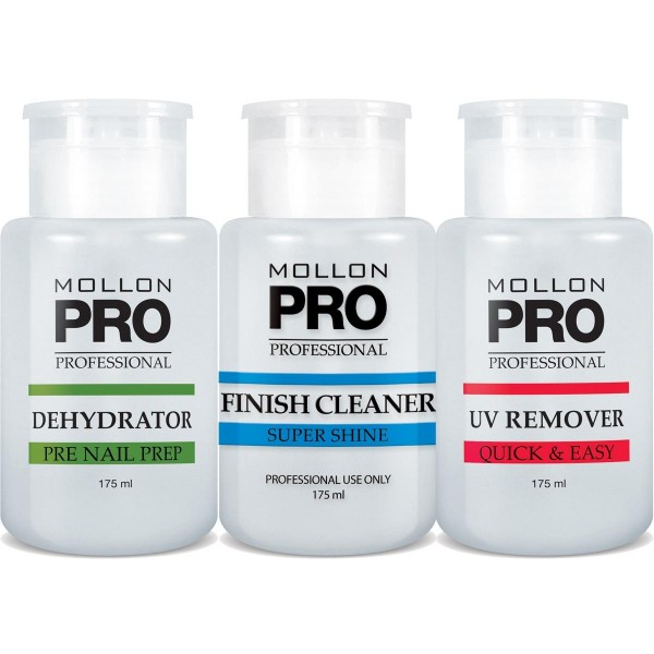 Mollon Pro Kit 3 Flacons Dehydrator, Finish Cleaner, UV Remover