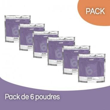 Pack 6 Poudres Décolorante sans ammoniaque Subtil Blond 450 Grs