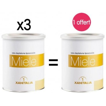 4 pots Cire Jetable Liposoluble Miel Xanitalia 800ml 1 offert