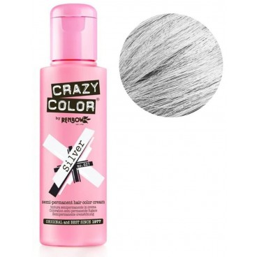 Coloration semi-permanente Silver argent CRAZY COLOR 100ML