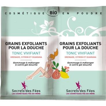 Grains exfoliants douche Tonic vivifiants bio SECRETS DES FEES 2x5g