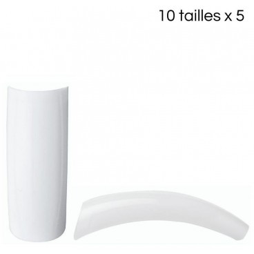 Tips french ronds à bande courte 10 tailles 5pcs/taille