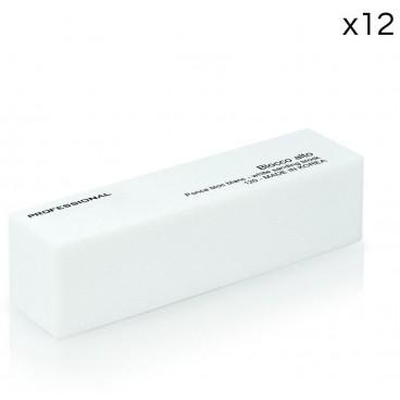 Pack de 12 limes rectangulaires épaisses blanches 120 box