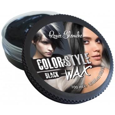 Cire coiffante et colorante Color&Style Wax noire Renée Blanche 100ML