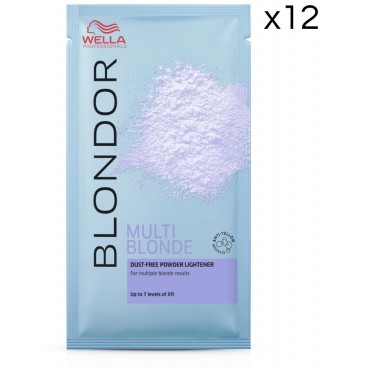 Pack de 12 sachets de poudre décolorante Multiblonde Powder Blond Wella